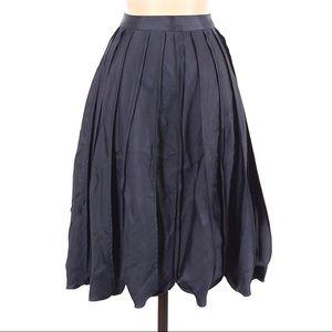 BCBGMaxAzria Runway Pleated Satin A Line Skirt